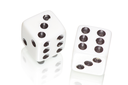 two white dices on white background