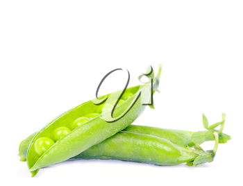 green peas vegetable closeup isolated on white