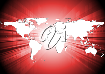 Royalty Free Clipart Image of a Red World Map
