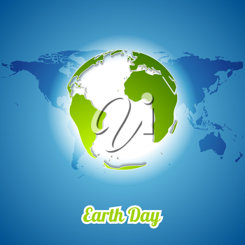 Earth Day background with green globe and map. Vector ecology illustration template