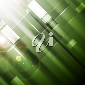 Green vibrant tech background with glossy squares and lens flare. Vector sci-fi abstract design
