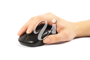 computer mouse with hand over white