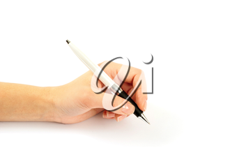 Closeup of a hand writing, on isolated on white background.