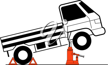 Royalty Free Clipart Image of a Truck on a Jack