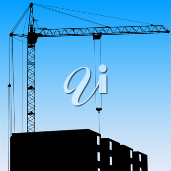 Royalty Free Clipart Image of a Crane on a Building