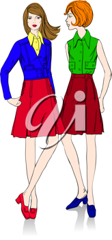 Royalty Free Clipart Image of Two Women