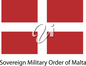 Flag  of the country  sovereing military order of malta. Vector illustration.  Exact colors.