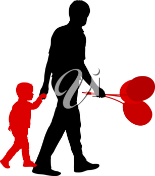 Silhouette of happy family with balloons in hand on a white background.