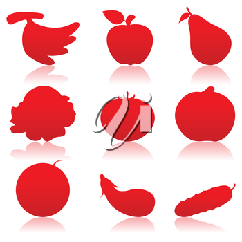 Icons of meal of red colour. A vector illustration