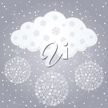 Snow cloud and snow in the winter. A vector illustration