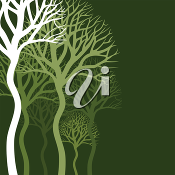 Wood of trees on a green background. A vector illustration