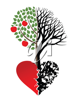 Live and dead tree from heart. A vector illustration