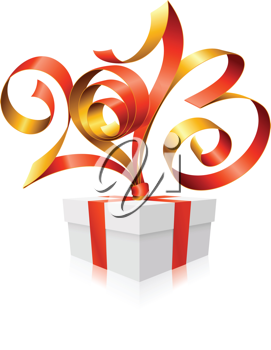 Royalty Free Clipart Image of a New Year Present