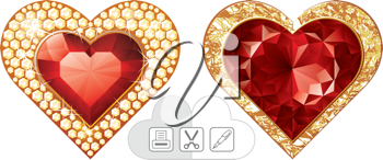 Royalty Free Clipart Image of Heart Jewels