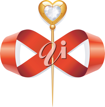 Royalty Free Clipart Image of a Heart Wand