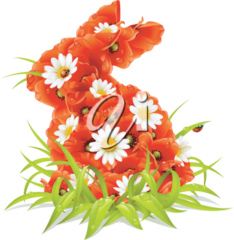 Royalty Free Clipart Image of a Floral Bunny