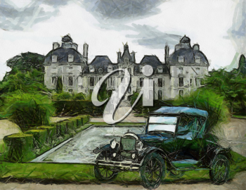 Royalty Free Photo of a Painting of a Ford T Vehicle
