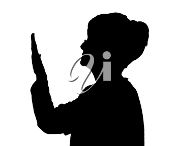 Side profile portrait silhouette of elderly lady checking condition of her nails