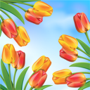Royalty Free Clipart Image of a Spring Background With Tulips