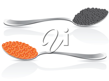 Royalty Free Clipart Image of Black and Red Caviar