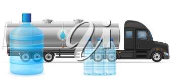 truck semi trailer delivery and transportation of purified drinking water concept vector illustration isolated on white background