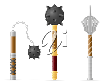 battle mace medieval stock vector illustration isolated on white background