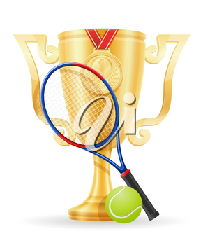 tennis cup winner gold stock vector illustration isolated on white background