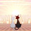 Royalty Free Clipart Image of a Two Cats in Love