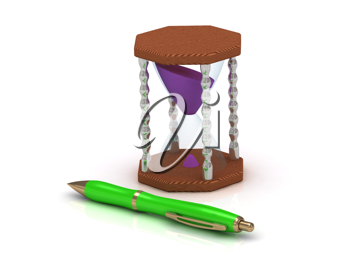 Royalty Free Clipart Image of an Hourglass and Pen