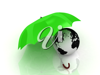 Royalty Free Clipart Image of a Green Umbrella With a Globe
