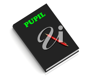 PUPIL- inscription of green letters on black book on white background