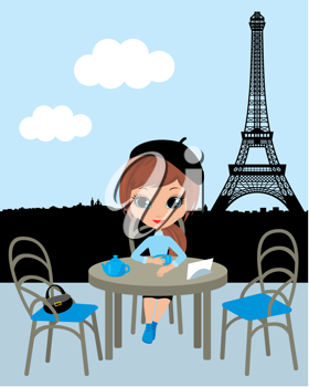 Royalty Free Clipart Image of a Woman in Paris