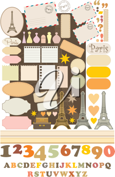Royalty Free Clipart Image of Scrapbooking Elements With a French Theme