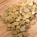 coins on the table as a background