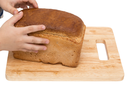 hands on bread on a board on a white background