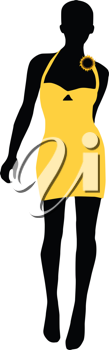 Royalty Free Clipart Image of a Silhouette of a Woman in a Yellow Dress