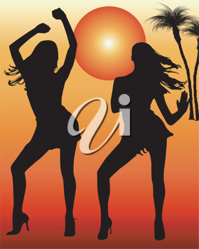 Royalty Free Clipart Image of Two Dancers in Front of a Tropical Sun