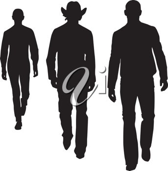 Royalty Free Clipart Image of Silhouettes of Three Men