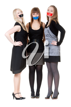 Royalty Free Photo of Girls With Their Mouths Taped Shut