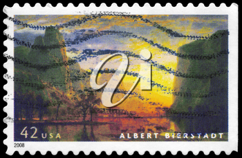 Royalty Free Photo of 2008 US Stamp Shows Painting Valley of the Yosemite (1864), by Albert Bierstadt (1830-1902)