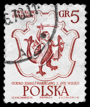 POLAND - CIRCA 1965: A Stamp printed in POLAND shows the Warsaw's Coat of Arms, 17th Century, series, circa 1965