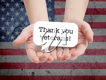 Thanks veterans written on a speechbubble