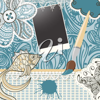 Royalty Free Clipart Image of Scrapbooking a Paint Brush, Buttons, a Butterfly, a Fish and Flowers