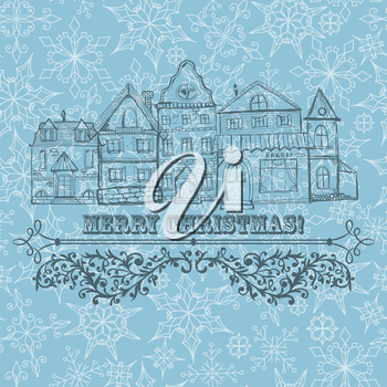 Royalty Free Clipart Image of a Christmas Greeting With Buildings
