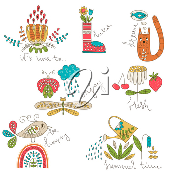 Vector Spring and Summer Funny Cards with Slogans. Funny Summer Outdoor Doodles.