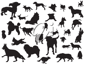 Royalty Free Clipart Image of Dog Silhouettes