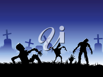 Royalty Free Clipart Image of Zombies in a Cemetery