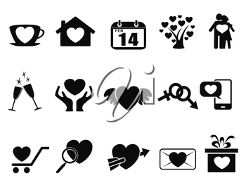 isolated black Love valentine day icons set from white background