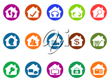 isolated house real estate buttons icons set from white background