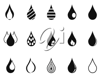 isolated black simple drop icons on white background